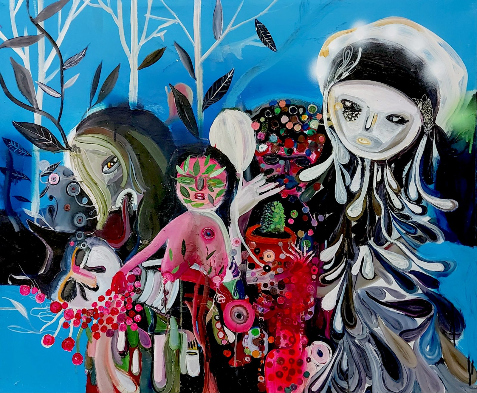 Untitled (figures in blue landscape)